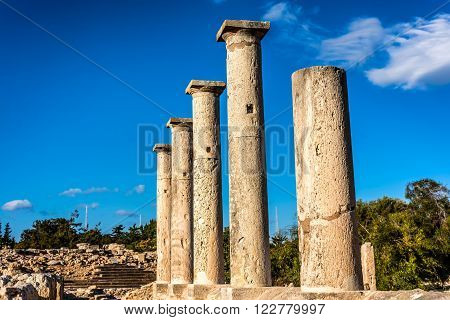 Ancient columns at Sanctuary of Apollo Hylates. Limassol District. Cyprus.