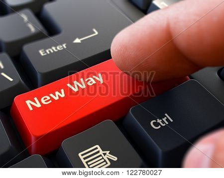 Computer User Presses Red Button New Way on Black Keyboard. Closeup View. Blurred Background. 3D Render.