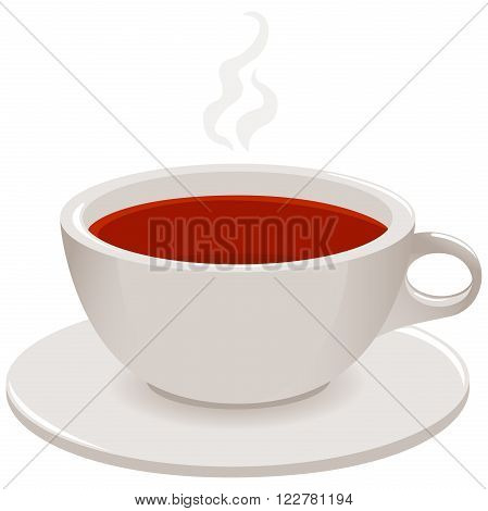 Vector illustration of a hot steamy cup of tea on white background, isolated