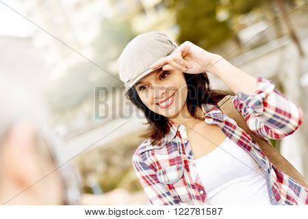 Man taking picture of girlfriend, week-end travel