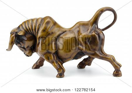Bull sculpture close up metaphor of finance bull market isolated on white background clipping path