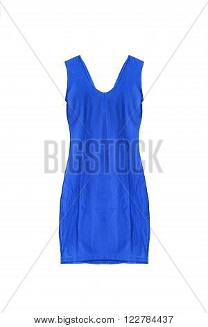 Blue sleeveless mini dress isolated over white