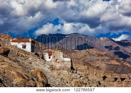 Village house in Himalayas. Shey, Ladakh, India