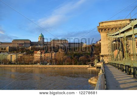 Buda Castle And Chain Bridge On Danube River