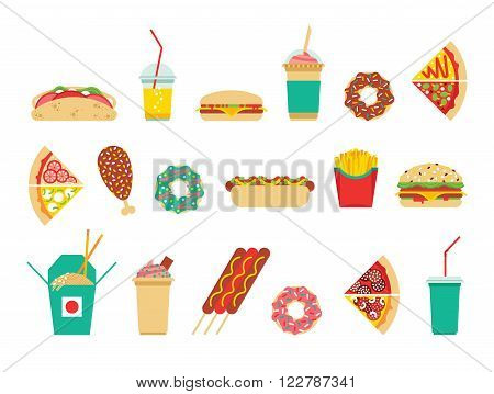 Fast food icons set. Vector fast food icons. Fast food isolated icons. Flat fast food icons.