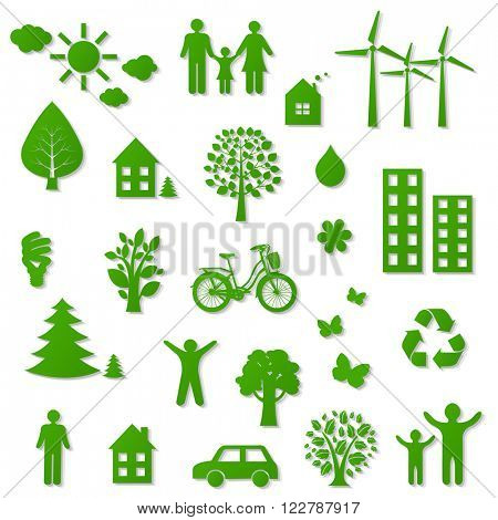 Green Eco Icons With Gradient Mesh, Vector Illustration