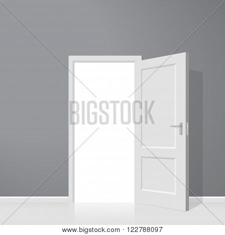 Open door. Realistic vector illustration. Wooden door