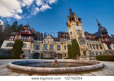 Peles Palace Build by Charles the First in Sinaia Romania. poster