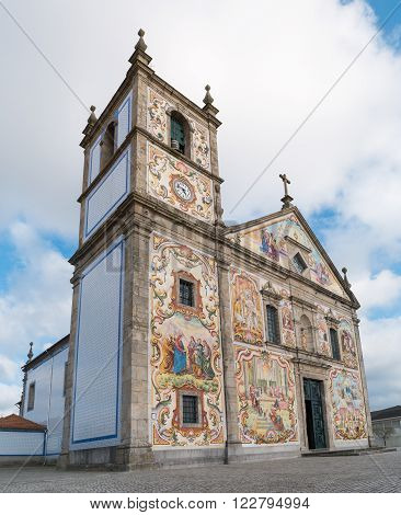 OVAR PORTUGAL - MARCH 22 2016: Beaufiful hand-painted panels of traditional Portuguese tiles at Church Matriz de Valega.