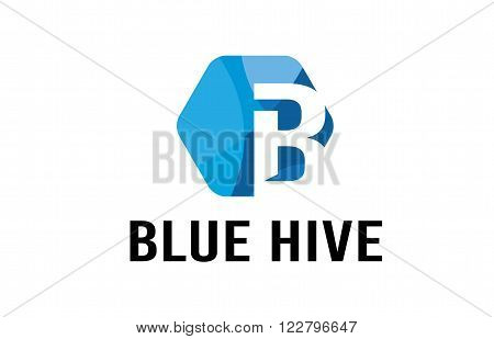 Blue Hive Abstract Letter Symbolic Design Illustration
