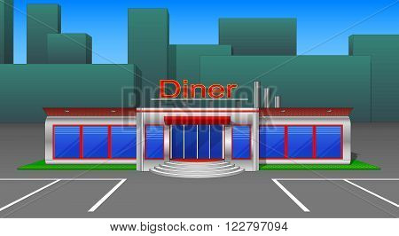 Diner cafe icons and cliparts front view v3. Elements of the city...