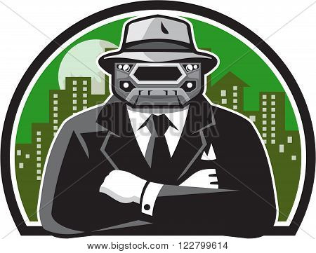 Illustration of an angry mobster with car grille grill face wearing hat tie and suit arms folded facing front with full moon and building cityscape in background done in retro style.