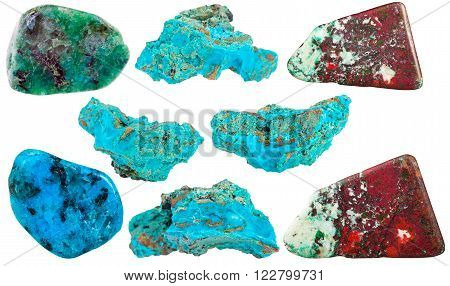 Set Of Chrysocolla Mineral Stones And Gemstones