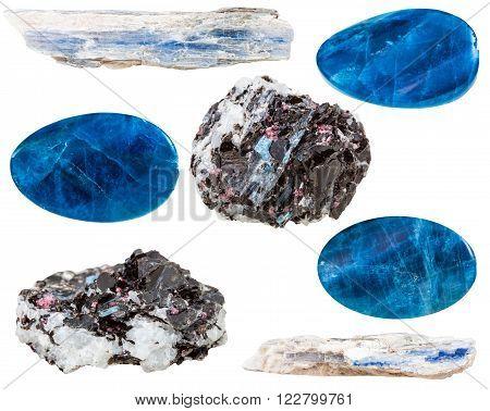 Set Of Kyanite Crystals And Polished Gemstones