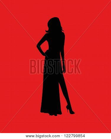 Silhouette of a beautiful girl in a long dress