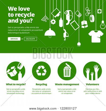 Recycle, Ecology & Waste management banners for one page website design.