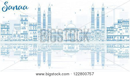 Outline Sanaa (Yemen) Skyline with Blue Buildings and Reflections. Vector Illustration. Business Travel and Tourism Concept with Historic Buildings. Image for Presentation Banner, Placard and Web.