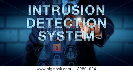 Manager is touching INTRUSION DETECTION SYSTEM on a virtual screen. Information technology and computer security concept for a traffic monitoring software device that identifies harmful data packets.