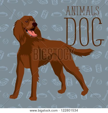 Vector geometric dogs collection with seamless background. Irish Setter