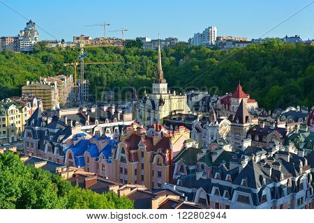 Kiev city. Beautiful houses on the Vozdvizhenska and Honcharna street. Capital of Ukraine - Kyiv