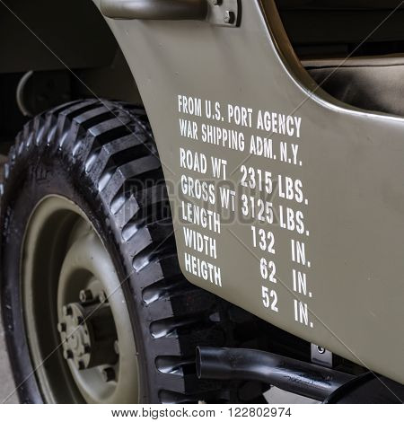 Verona, Italy - May 15, 2015: Dimensions and weights printed on the side of a military off road used in World War II.