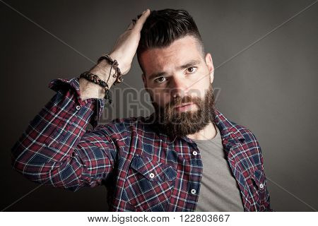 Young Handsome Hipster With Beard