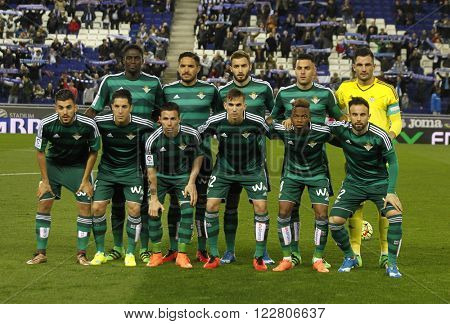 BARCELONA - MARCH, 3: Real Betis lineup before a Spanish League match against RCD Espanyol at the Power8 stadium on March 3, 2016 in Barcelona, Spain