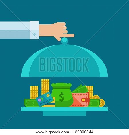 Flat concept of money serving on the serve plate.