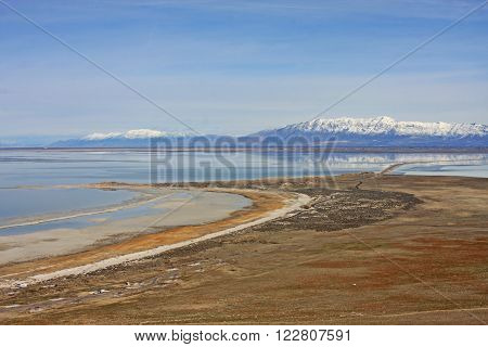 Wasatch Front Mountains from Antelope Island, Utah