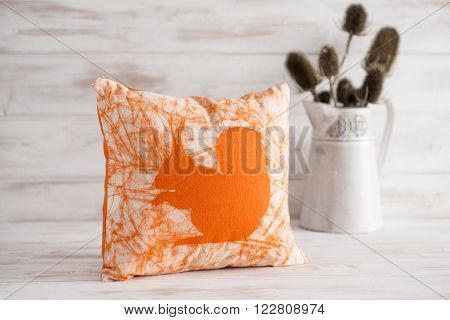 Square Throw Pillow With Orange Squirrel Imprint