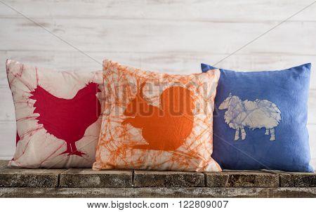 Throw Pillow Set With Farm Animal Theme