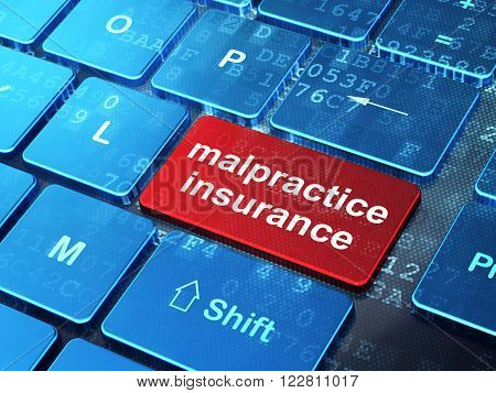Insurance concept: Malpractice Insurance on computer keyboard background