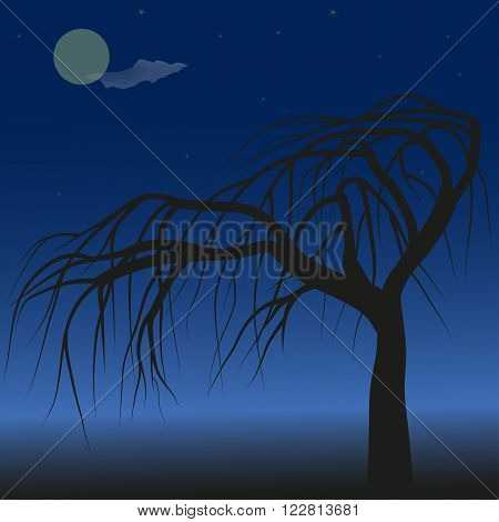 Lonely tree against blue night sky, moon and stars, vector illustration