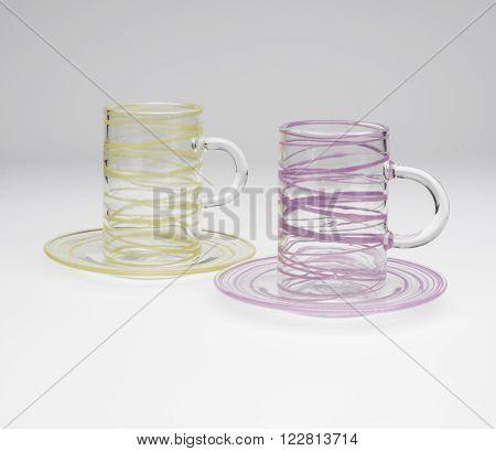 Pair Of Slim Crystal Mugs On Matching Saucers