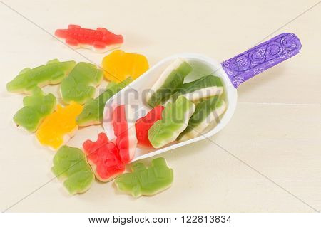 scoop with colorful jelly animal shaped beans