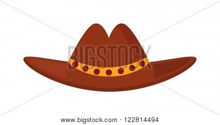 Sheriff's leather cowboy hat stetson accessory and western cowboy human hat. Sheriff cowboy brown costume. Leather cowboy sheriff's leather hat stetson western traditional clothing vector illustration