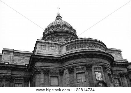 View of Kazan Cathedral in St.Petersburg Russia. Black and white.