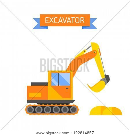 Excavator equipment industry machine and excavator mower work industrial truck. Building hydraulic bucket tractor. Yellow excavator special machinery vehicle loader bulldozer flat vector illustration.