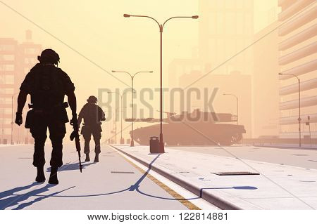 Silhouette of the soldier on the streets of a modern city.