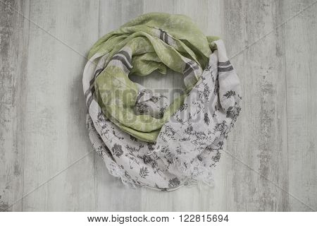 Scarf With Green And Gray Floral Design