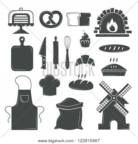 Bakery symbols and pastries set of vector design elements, kitchen tools, confectionery and pastry tools, bread shop bakery symbols. Set of bread products, bakery symbols, coffee shop elements vector.