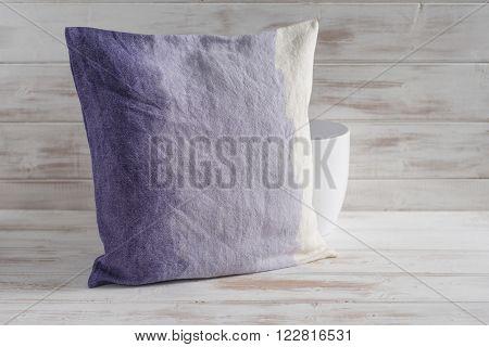 Square Gradient Purple Throw Pillow And Empty Vase