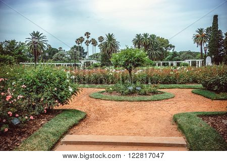 Rose Park on Parque Tres de Febrero, also known as the Bosques de Palermo (Palermo Woods), a 400 hectares urban park located in the neighborhood of Palermo in Buenos Aires, Argentina