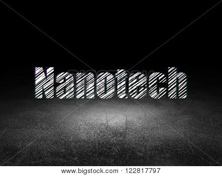 Science concept: Nanotech in grunge dark room
