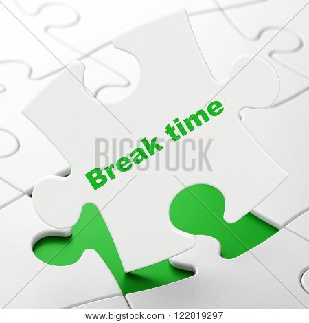 Timeline concept: Break Time on puzzle background