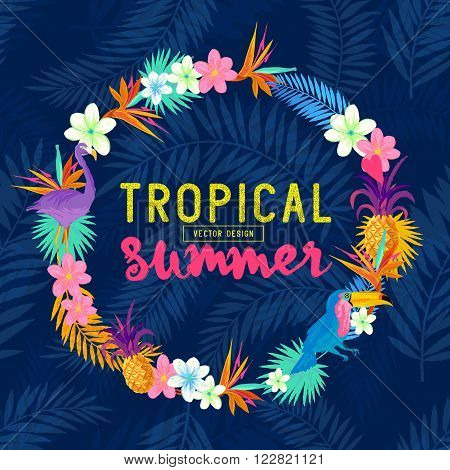 Vivid Tropical Wreath. Including flamingo Palms Toucans Bird of paradise flowers and pineapples. poster
