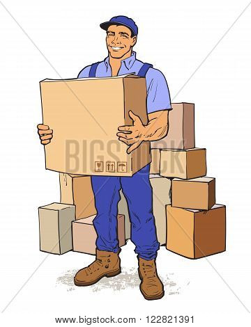 Moving Companies. Shipping. Happy loader stands with box. Vector illustration. Move house service. Transportation of things. Delivery of goods. Box. Carrier with a box isolated. Transportation package
