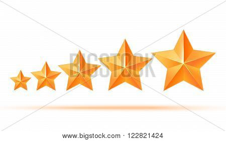 Realistic 3D gold star. Award winner. Five gold stars. Good job. Best reward. bulk copper star. Simple 5 star on a white background. The award for the best choice. Premium class. illustration