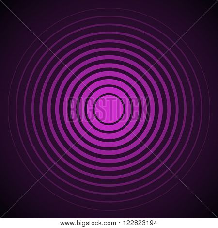 Radar screen concentric circle elements. Vector illustration for sound wave. Black and purple color ring. Circle spin target. Radio station signal Center minimal radial ripple line outline abstraction