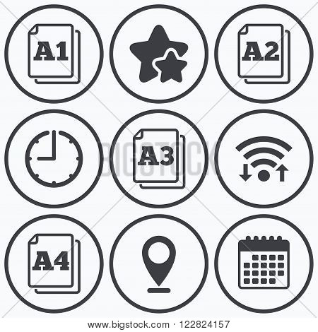 Clock, wifi and stars icons. Paper size standard icons. Document symbols. A1, A2, A3 and A4 page signs. Calendar symbol.